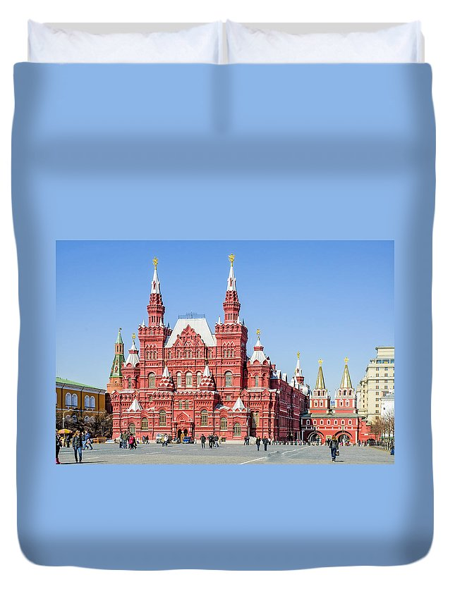 Europe Duvet Cover featuring the photograph Moscow's State Historical Museum by Alain De Maximy