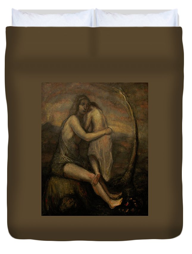 Rembrandt Mother Child Jesus Mary Madonna Nerdrum Old Master Duvet Cover featuring the painting Mother And Child by Derek Van Derven