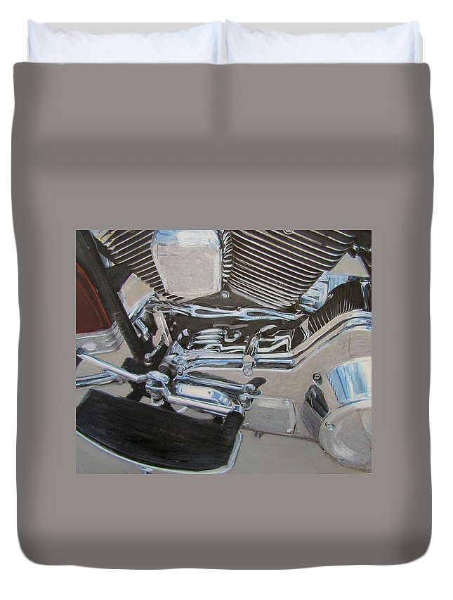 Motorcycle Duvet Cover featuring the mixed media Motorcycle Close Up 2 by Anita Burgermeister