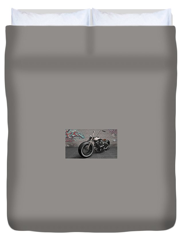 Motorcycle Duvet Cover featuring the digital art Motorcycle by Dorothy Binder