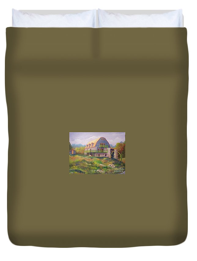 Mill Duvet Cover featuring the painting Mountain Mill by Hugh Harris
