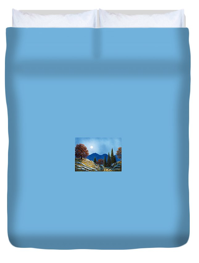 Landscape Duvet Cover featuring the painting Mountain Moonrise by Frank Wilson