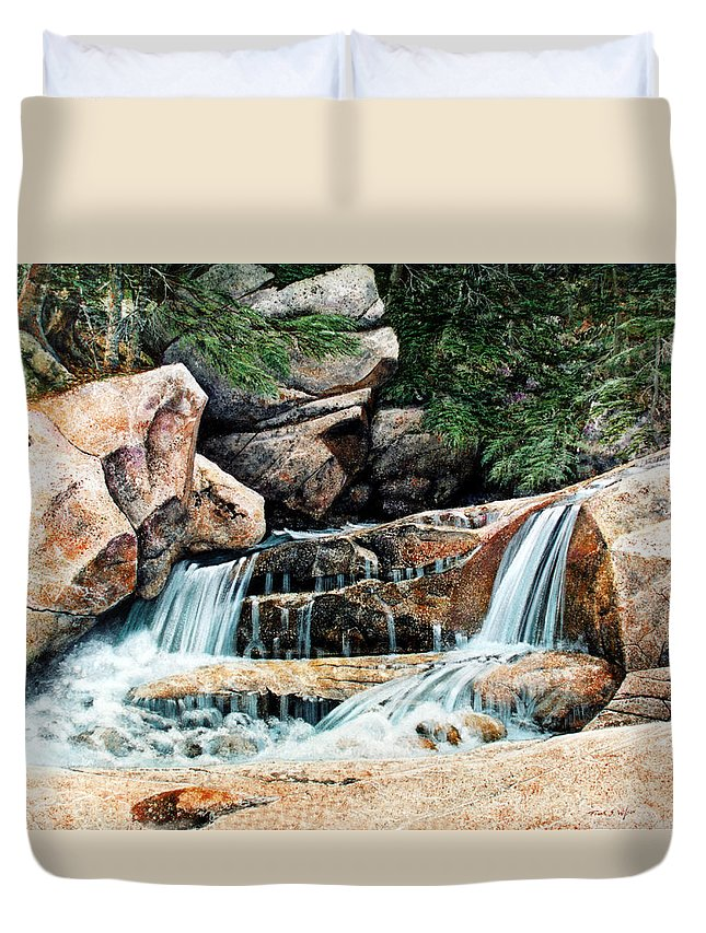 Landscape Duvet Cover featuring the painting Mountain Stream by Frank Wilson
