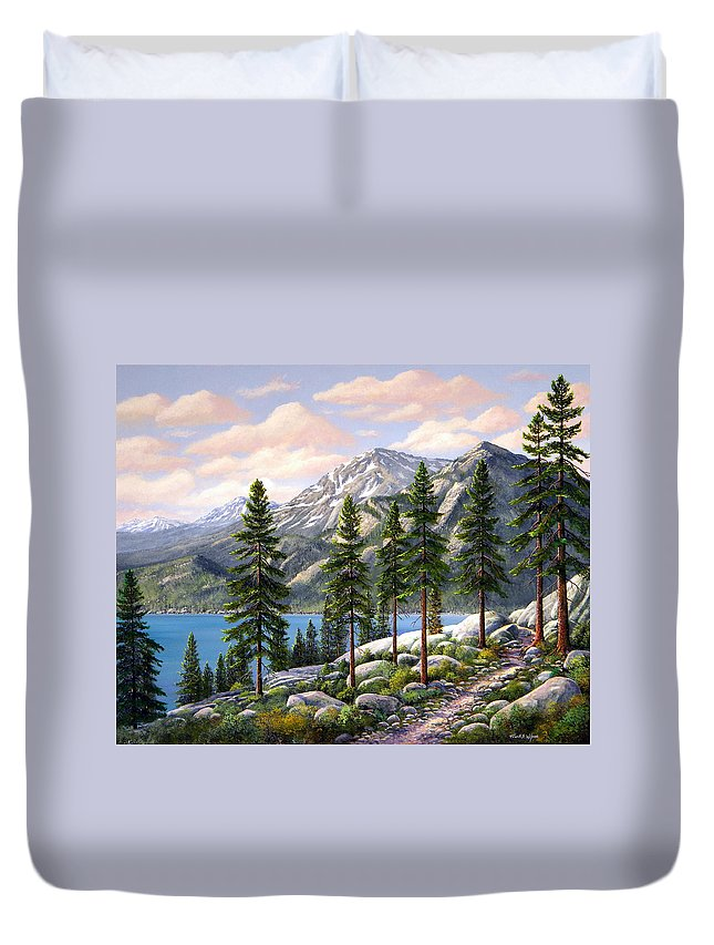 Landscape Duvet Cover featuring the painting Mountain Trail by Frank Wilson