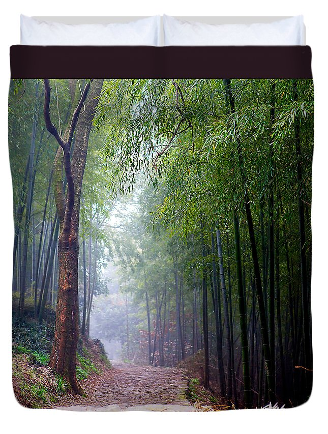 Trees Duvet Cover featuring the photograph Mountain Trail by James O Thompson