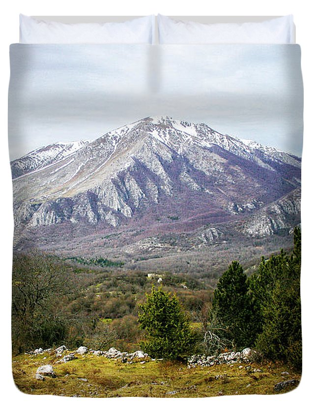 Background Duvet Cover featuring the photograph Mountains In The Background X by Salvatore Russolillo