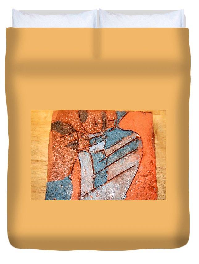 Jesus Duvet Cover featuring the ceramic art Mum 3 - Tile by Gloria Ssali