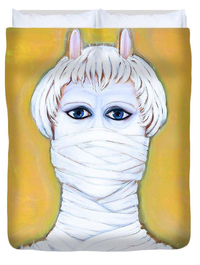 Portrait Duvet Cover featuring the digital art Mute Control by Elisabeth Skajem Atter