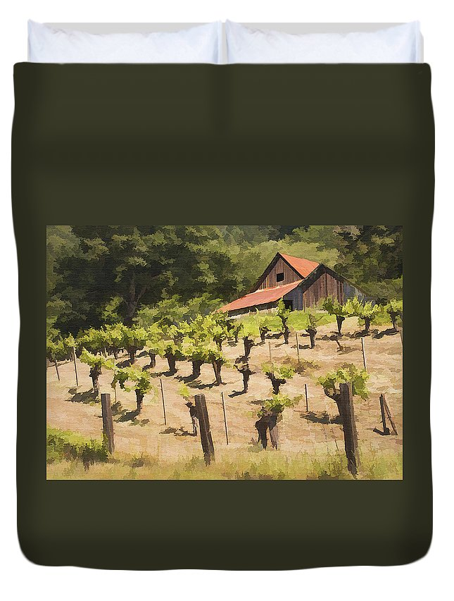 Vineyard Duvet Cover featuring the photograph Napa Barn by Sharon Foster