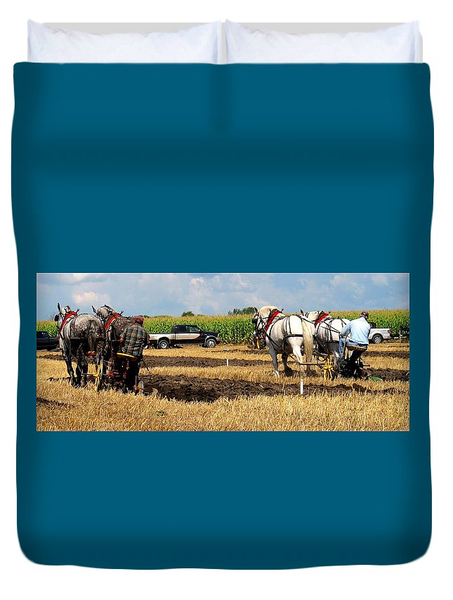 Horses Duvet Cover featuring the photograph Neck And Neck by Ian MacDonald