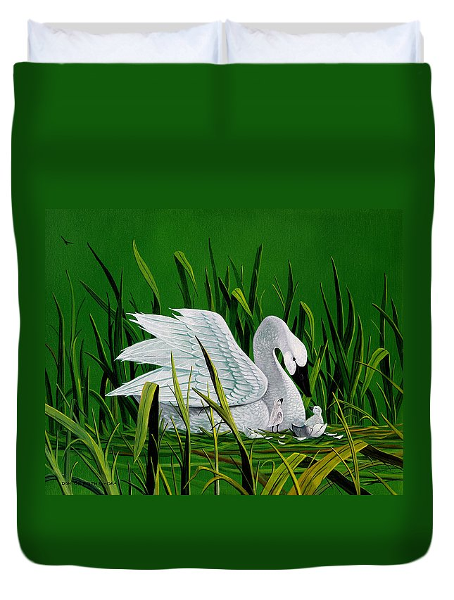 Swan And Babies Duvet Cover featuring the painting New Addition by Don Griffiths