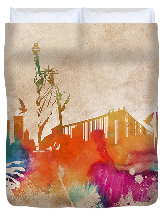 New York Duvet Cover featuring the digital art New York City Skyline Colored by Justyna JBJart