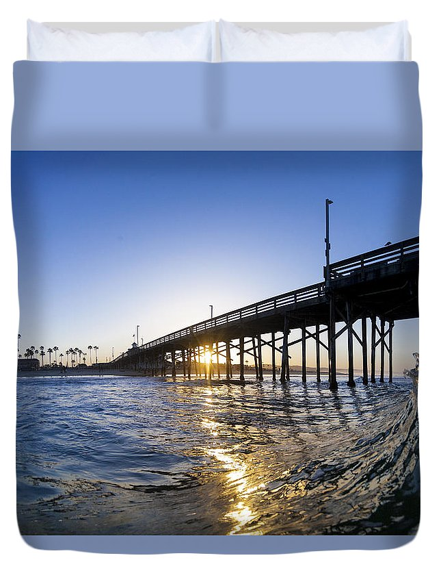 Newport Beach Duvet Cover featuring the photograph Newport Pier Curl by Sean Davey
