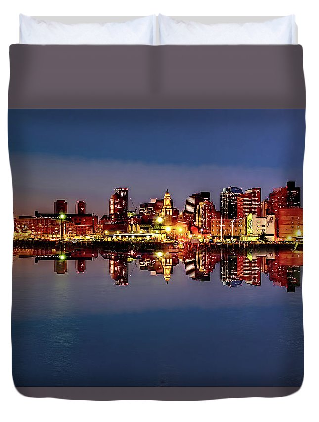 America Duvet Cover featuring the photograph Night Lights by Maria Coulson