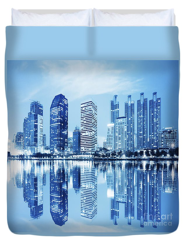 Architecture Duvet Cover featuring the photograph Night Scenes Of City by Setsiri Silapasuwanchai