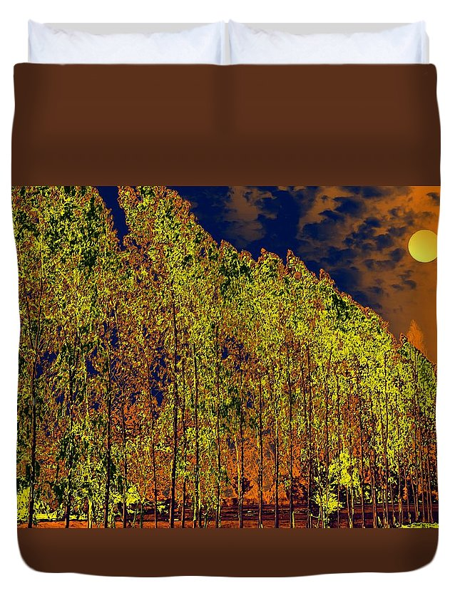Nature Duvet Cover featuring the digital art Night Trees by Bliss Of Art