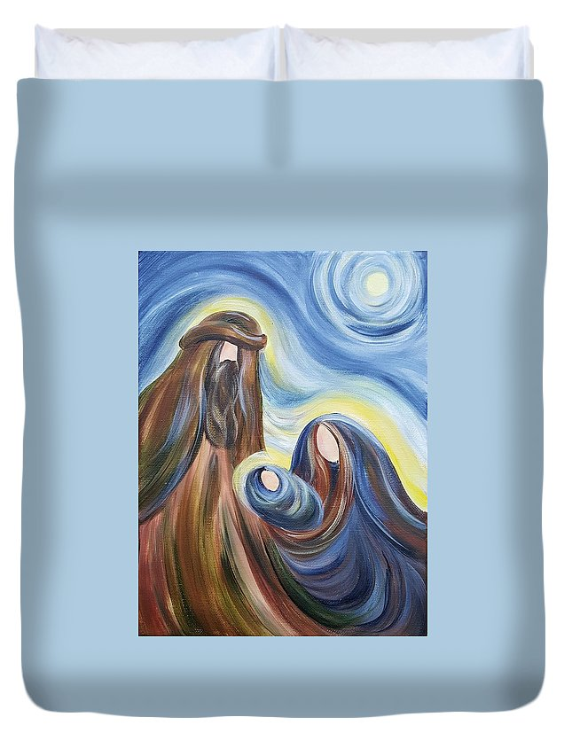 Nativity Duvet Cover featuring the painting No.2 -nativity Series 2015 by Simone Germain
