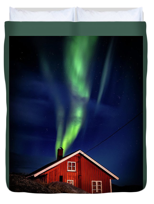 Hamnoy Duvet Cover featuring the photograph Northern Lights Chimney by Brad Rempel
