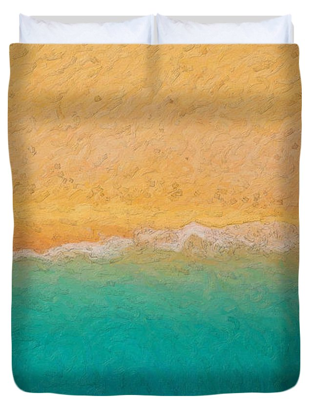 �not Quite Rothko� Collection By Serge Averbukh Duvet Cover featuring the photograph Not quite Rothko - Surf and Sand by Serge Averbukh