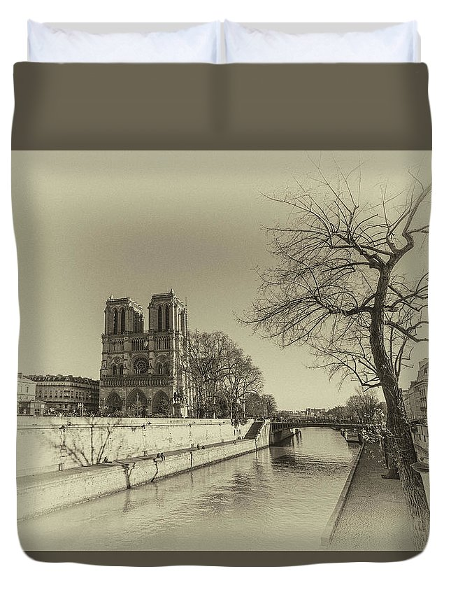 Parisian Duvet Cover featuring the digital art Notre Dame Of Paris by Louloua Asgaraly