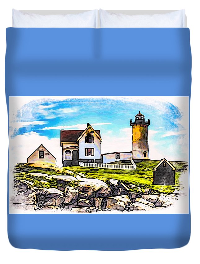 Nubble Lighthouse Duvet Cover featuring the photograph Nubble Lighthouse by Mark Sellers