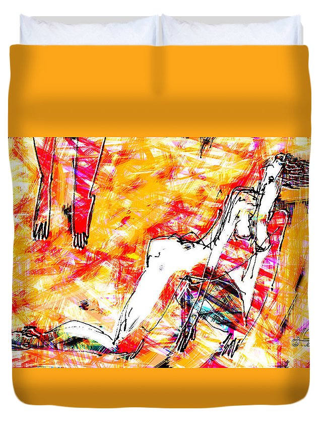 Nude Duvet Cover featuring the digital art Nude, Love by Alexander Fuza
