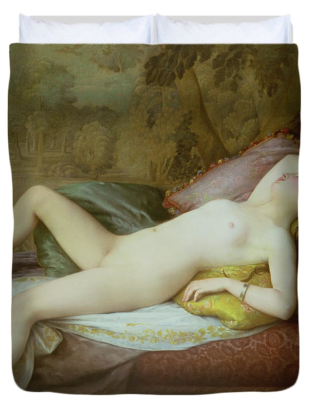 Nude Duvet Cover featuring the painting Nude Lying On A Chaise Longue by Gustave-Henri-Eugene Delhumeau