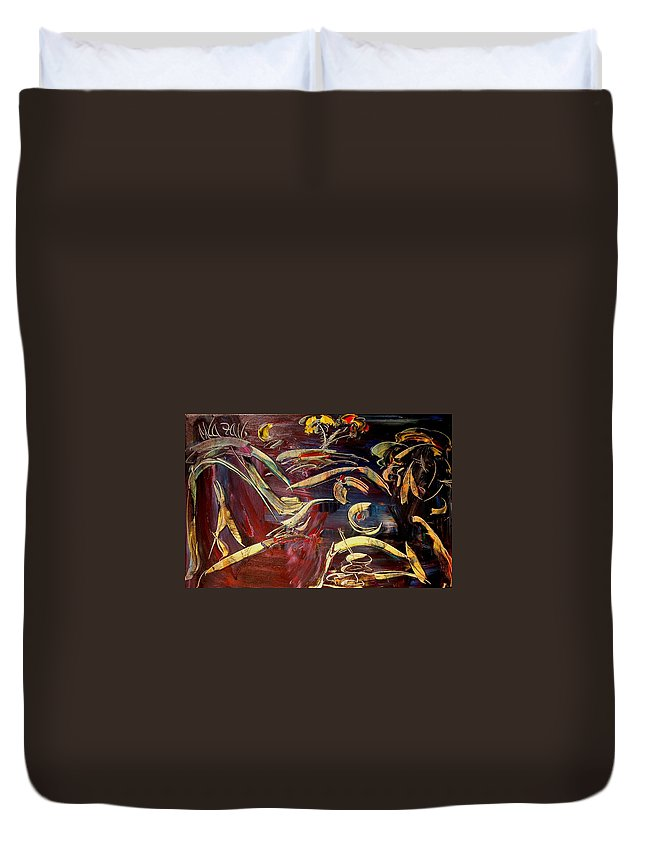 Nude Duvet Cover featuring the painting Nude by Mark Kazav