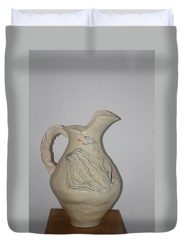 Jesus Duvet Cover featuring the ceramic art Nze Jug by Gloria Ssali
