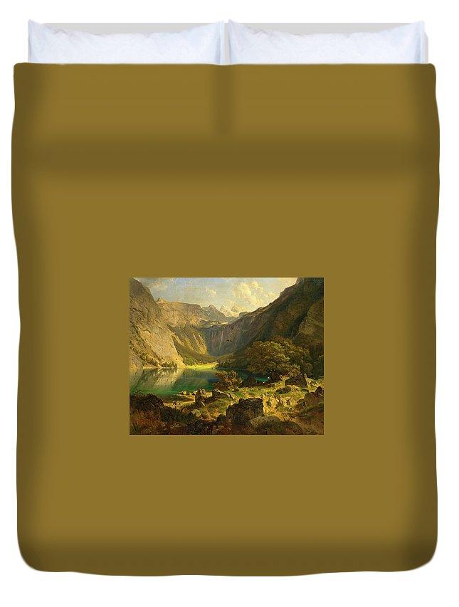 Johann Gottfried Steffan Duvet Cover featuring the painting Obersee. Bavarian Alps by Johann Gottfried Steffan