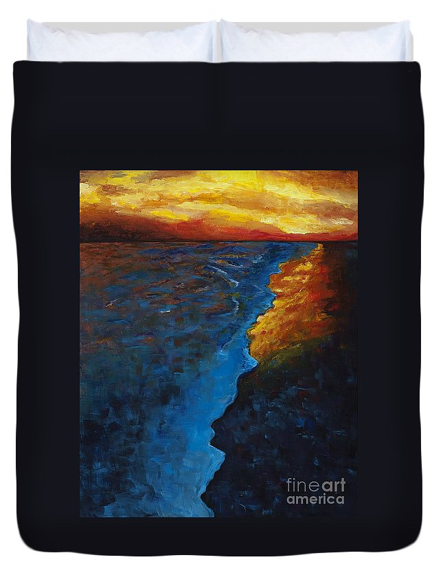 Abstract Ocean Duvet Cover featuring the painting Ocean Sunset by Frances Marino