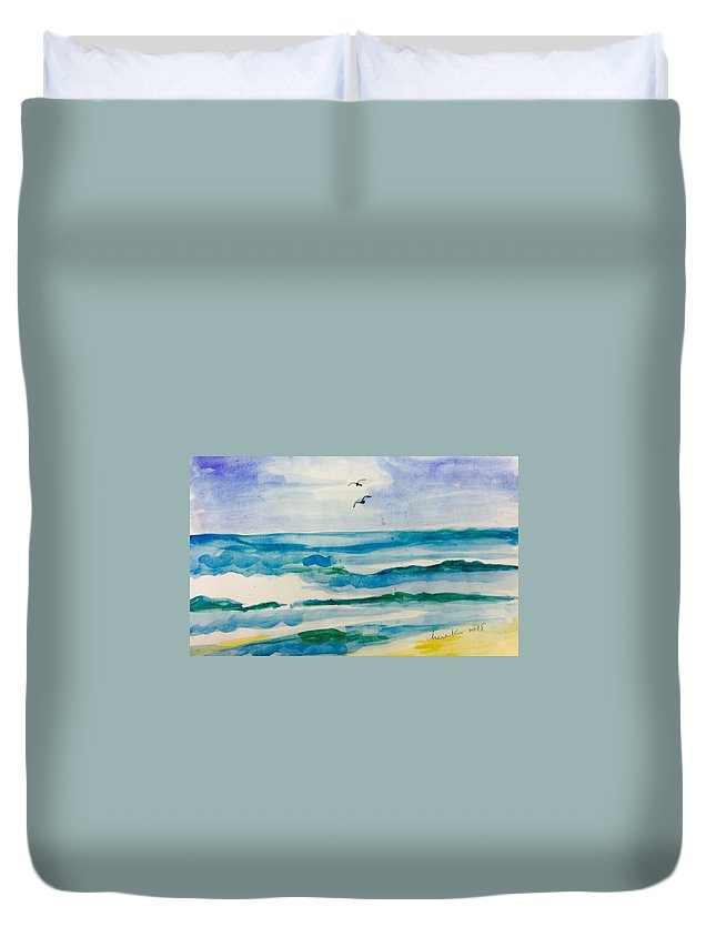Ocean Duvet Cover featuring the painting Ocean Wave by Hae Kim