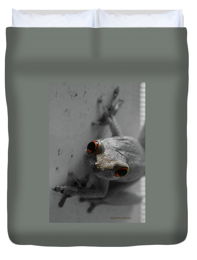 Frog Duvet Cover featuring the digital art Ogling Amphibian by DigiArt Diaries by Vicky B Fuller