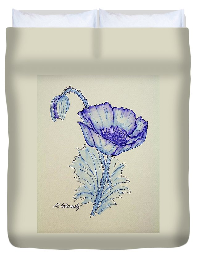 Poppy Duvet Cover featuring the drawing Oh Poppy by Marna Edwards Flavell