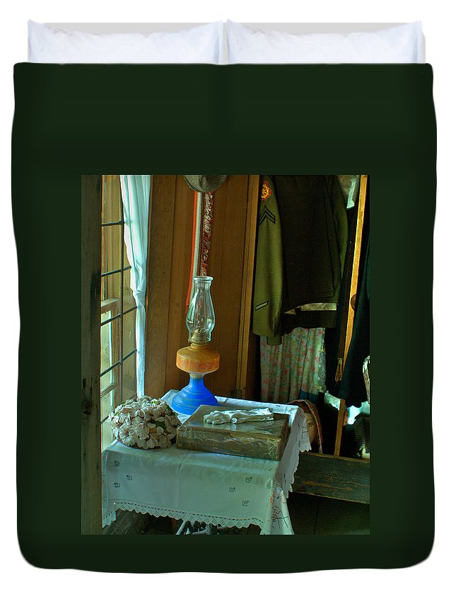 Oil Duvet Cover featuring the photograph Oil Lamp And Bible by Douglas Barnett
