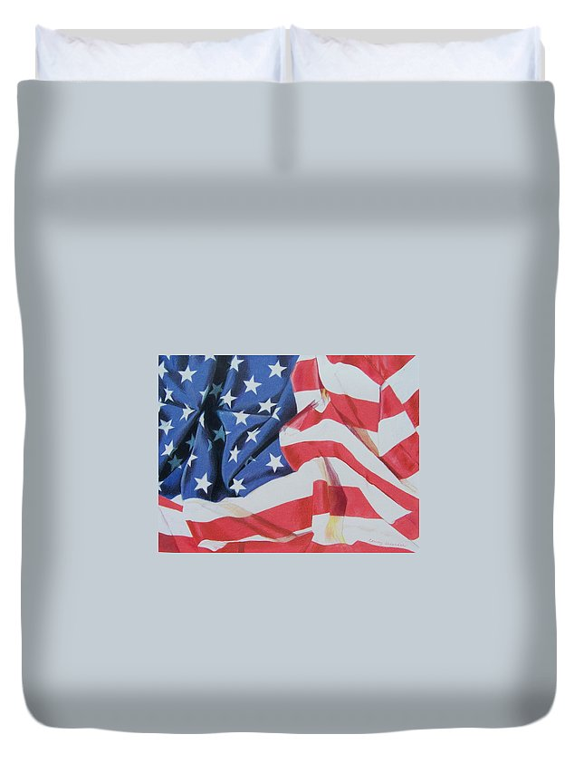 Flag Duvet Cover featuring the mixed media Old Glory by Constance Drescher
