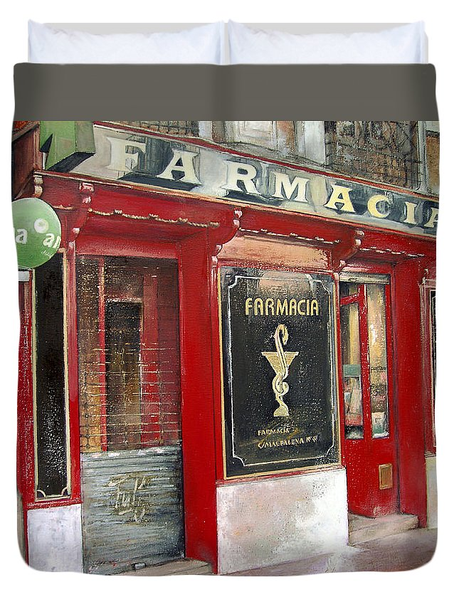 Farmacia Duvet Cover featuring the painting Old Pharmacy by Tomas Castano