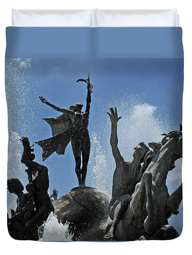 Statue Duvet Cover featuring the photograph Old San Juan Puerto Rico by Tito Santiago