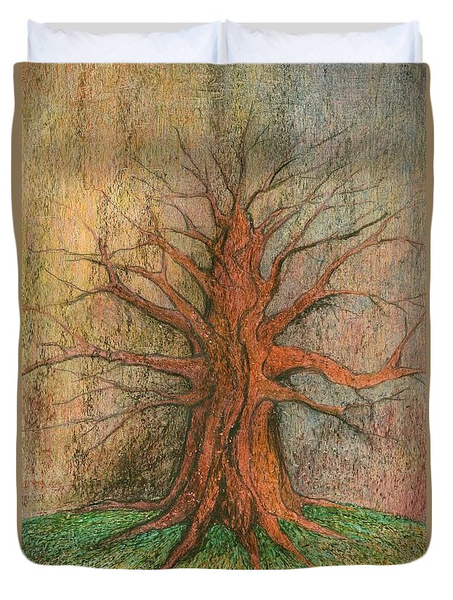 Colour Duvet Cover featuring the painting Old Tree by Wojtek Kowalski