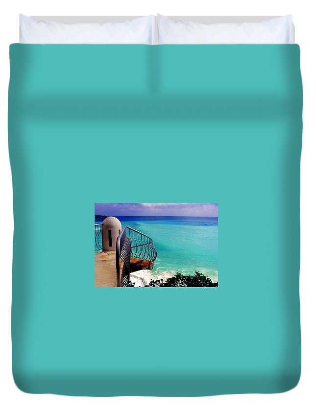 Seascapes Duvet Cover featuring the photograph On The Edge by Karen Wiles