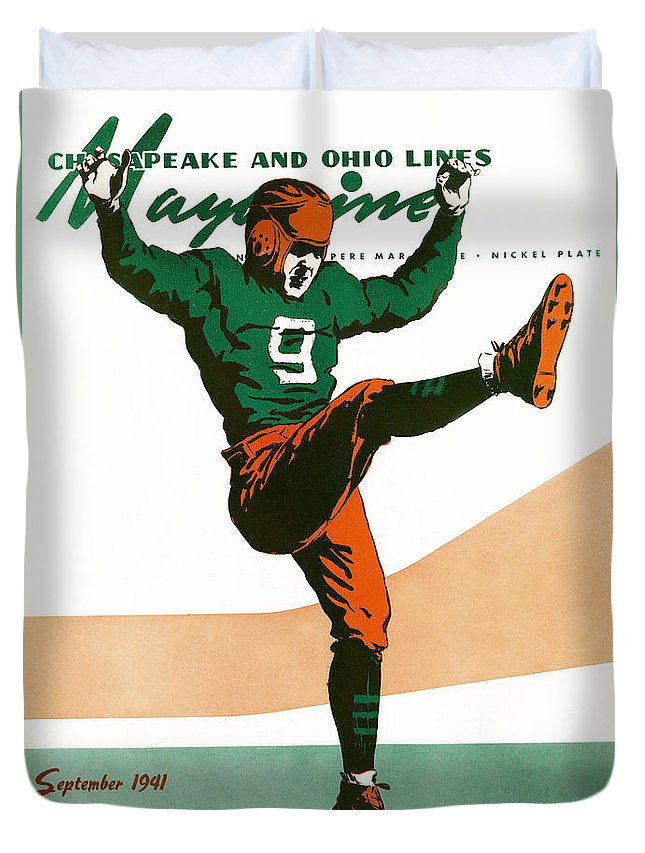 Football Duvet Cover featuring the drawing On The Field by The Baltimore and Ohio Railroad
