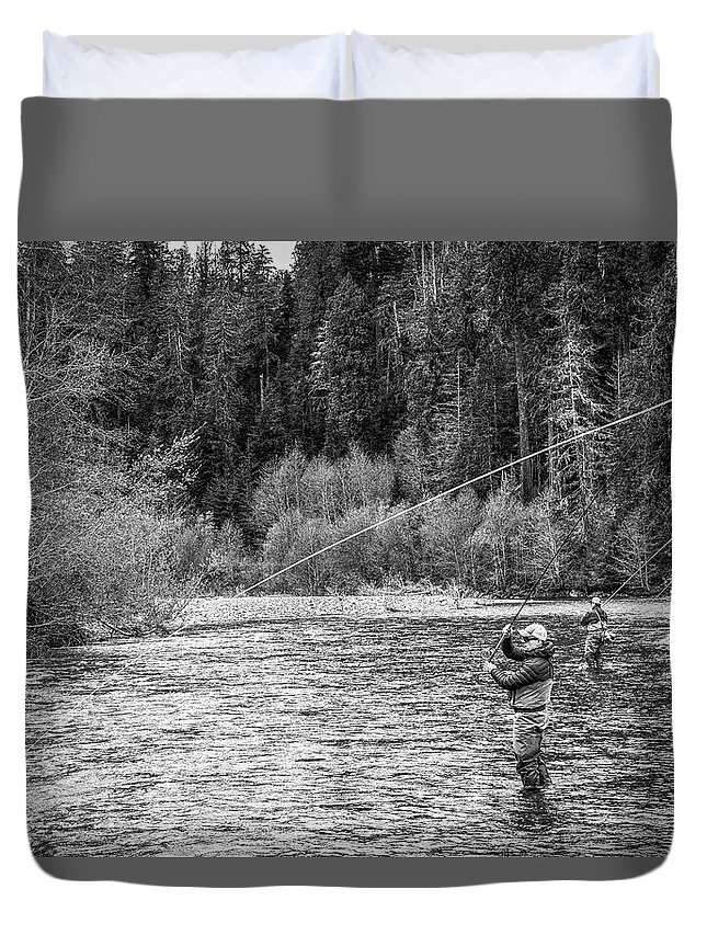 Flyfishing Duvet Cover featuring the photograph On the River by Jason Brooks