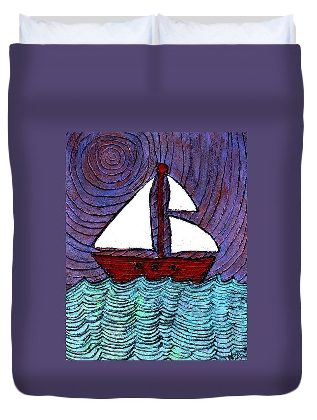 River Duvet Cover featuring the painting On The River by Wayne Potrafka
