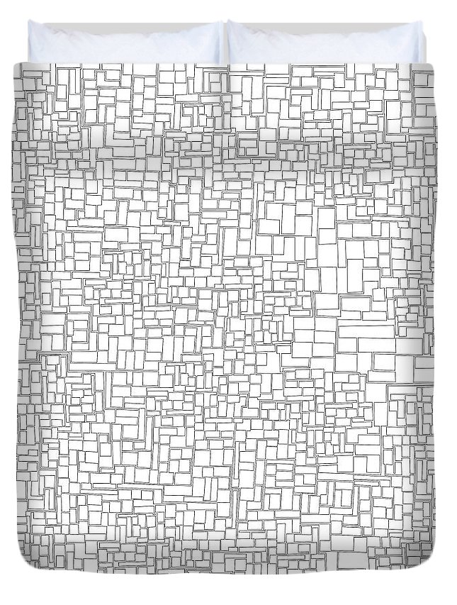 Abstract Duvet Cover featuring the digital art One Liner 15 Jtl by Matt Danger