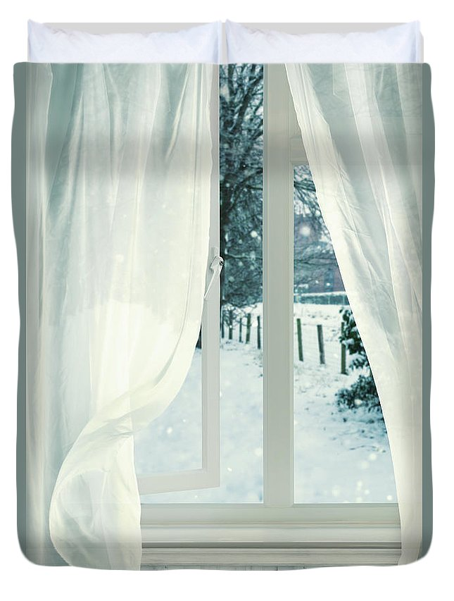 Open Duvet Cover featuring the photograph Open Window by Amanda Elwell