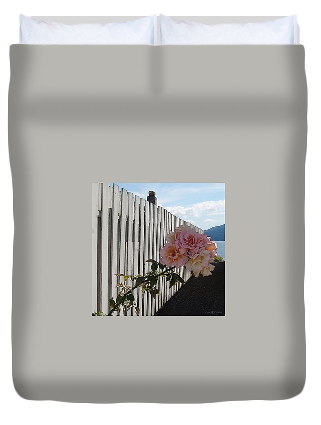 Rose Duvet Cover featuring the photograph Orcas Island Rose by Tim Nyberg