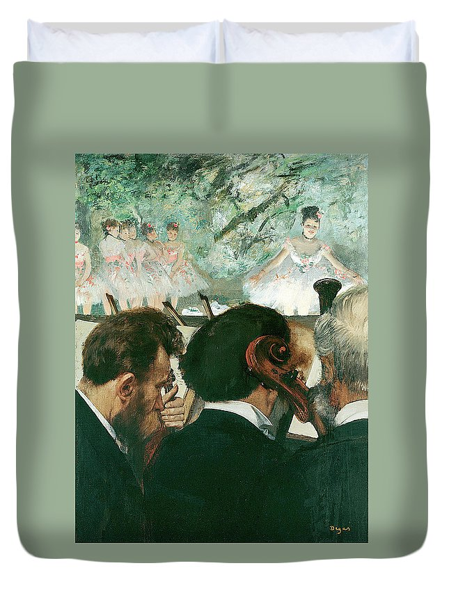Orchestra Duvet Cover featuring the painting Orchestra Musicians by Edgar Degas