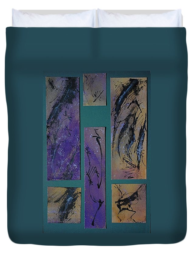 Abstraction Duvet Cover featuring the painting Oriental Screen by Chris Riley