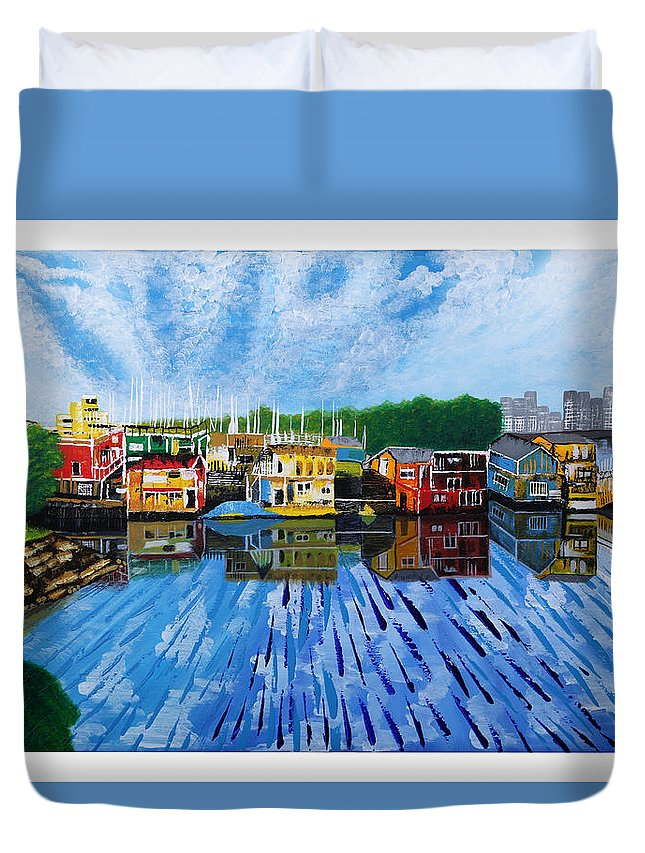 Painting Duvet Cover featuring the painting Original Abstract Painting On Canvas by Satishkumar Kumbhani
