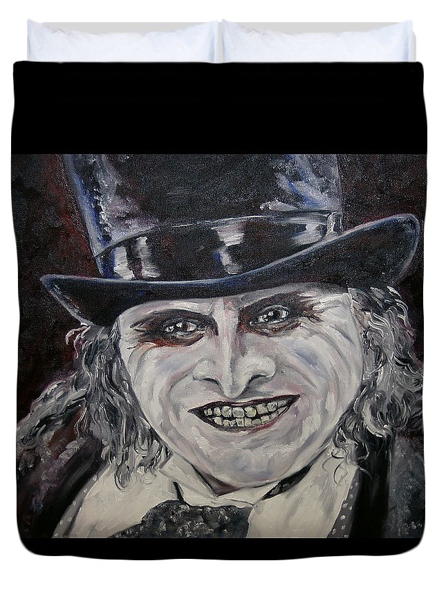 Oswald Cobblepot Duvet Cover featuring the painting Oswald by Deana Smith
